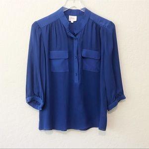 PARKER silk cobalt blue button down blouse